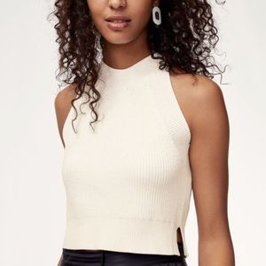 WILFRED CREVIER White Knit Sleeveless Sweater Top